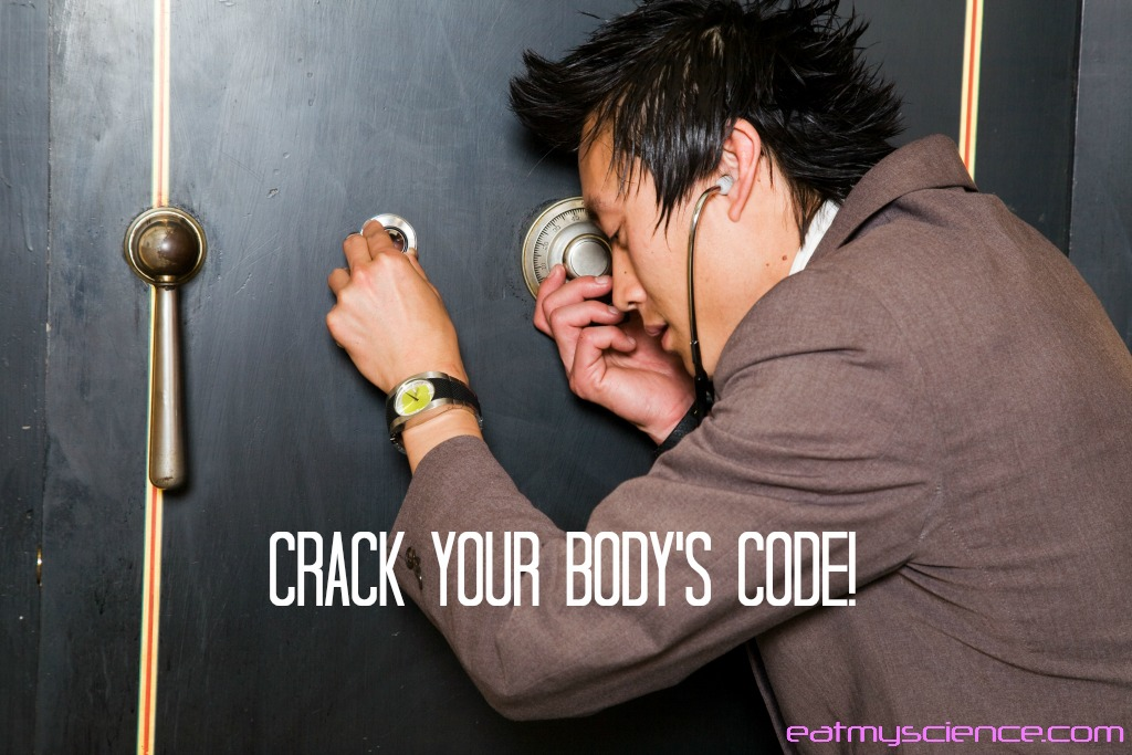 Man cracking a safe - finding the combination by listening. Crack the code of your body's health by listening to it. Start by using a food journal