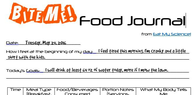 Bite Me Food Journal in Action - daily goal setting, drink enough water. We don't need more willpower, we need to work smarter, not harder.