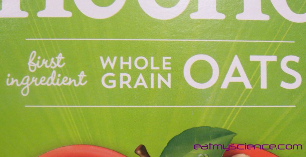 Front of the box says First Ingredient Whole Grain Oats, but add up the sugar to find the real first ingredient