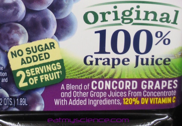 "Grape juice label says ""No Sugar Added"" but has more sugar than 2 ding dongs"