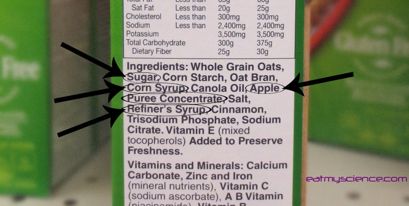 Whole grain oats is listed as the first ingredient, but sugars are really the most abundant ingredient