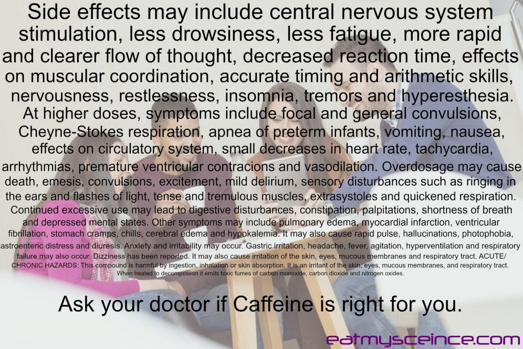 central nervous system stimulation, less drowsiness, less fatigue, more rapid and clearer flow of thought, decreased reaction time, effects on muscular coordination, accurate timing and arithmetic skills, nervousness, restlessness, insomnia, tremors and hyperesthesia. At higher doses, symptoms include focal and generalized convulsions, Cheyne-Stokes respiration, apnea of preterm infants, vomiting, nausea, effects on circulatory system, small decreases in heart rate, tachycardia, arrhythmias, premature ventricular contractions and vasodilation. Overdosage may cause death, emesis, convulsions, excitement, mild delirium, sensory disturbances such as ringing in the ears and flashes of light, tense and tremulous muscles, extrasystoles and quickened respiration. Continued excessive use may lead to digestive disturbances, constipation, palpitations, shortness of breath and depressed mental states. Other symptoms may include pulmonary edema, myocardial infarction, ventricular fibrillation, stomach cramps, chills, cerebral edema and hypokalemia. It may also cause rapid pulse, hallucinations, photophobia, gastroenteric distress and diuresis. Anxiety and irritability may occur. Gastric irritation, headache, fever, agitation, hyperventilation and respiratory failure may also occur. Dizziness has been reported. It may also cause irritation of the skin, eyes, mucous membranes and respiratory tract. ACUTE/CHRONIC HAZARDS: This compound is harmful by ingestion, inhalation or skin absorption. It is an irritant of the skin, eyes, mucous membranes and respiratory tract. When heated to decomposition it emits toxic fumes of carbon monoxide, carbon dioxide and nitrogen oxides